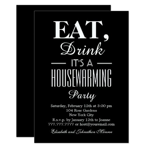 Eat, Drink It's a Housewarming Party Invitation