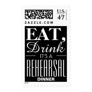 Eat, Drink It's a Rehearsal Dinner Chalkboard Postage