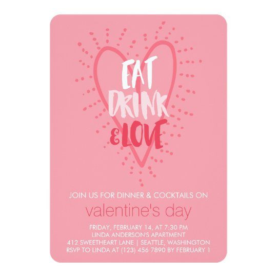 Eat Drink Love Valentine S Day Party Invitation Zazzle Com
