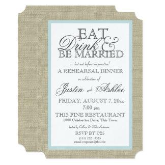 Eat Drink Married Rehearsal Dinner Card