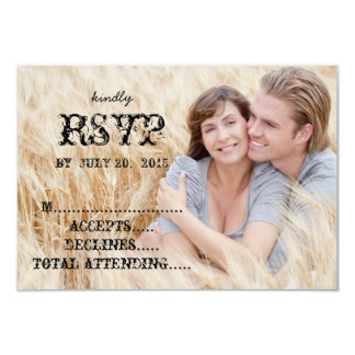 Eat Drink Married Rustic Country Wedding RSVP 3.5x5 Paper Invitation Card