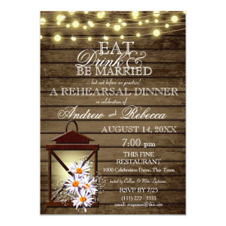 Eat Drink Married Rustic Lantern Rehearsal Dinner Card