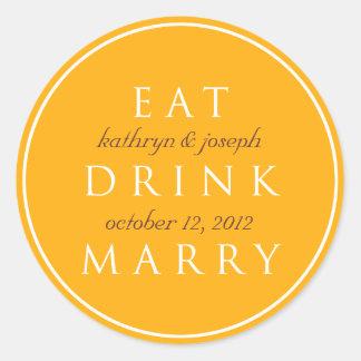 EAT DRINK MARRY golden orange wedding favor label