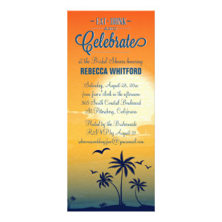 Eat Drink n Celebrate Summer Sunset Bridal Shower Personalized Invitations