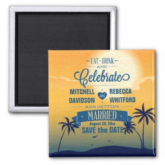Eat Drink n Celebrate Summer Sunset Save the Date 2 Inch Square Magnet