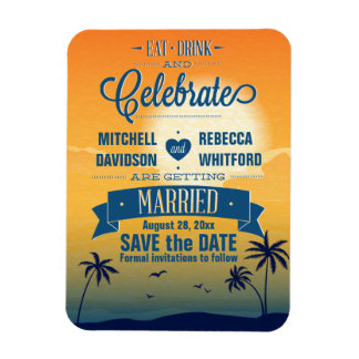 Eat Drink n Celebrate Summer Sunset Save the Date Rectangle Magnets