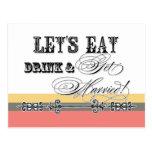 Eat, Drink n Get Married, be my Bridesmaid Invite Postcard