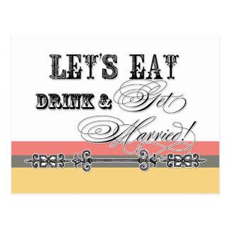 Eat, Drink n Get Married, Bridal Shower Invitation Postcard