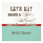 Eat, Drink n Get Married Bridal Shower Vintage Personalized Announcements