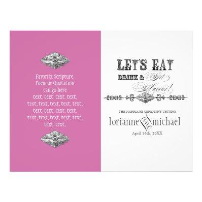 Eat, Drink n Get Married, Formal Wedding Program