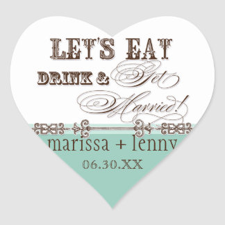 Eat, Drink n Get Married Matching Stickers or Seal