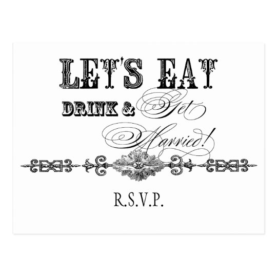 Eat, Drink n Get Married, RSVP Response Postcard