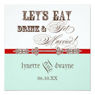 Eat, Drink n Get Married Script Wedding Invitation