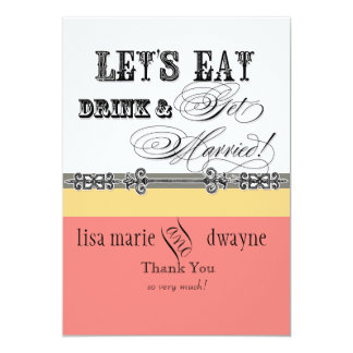 Eat, Drink n Get Married Thank You Note Cards Personalized Announcements