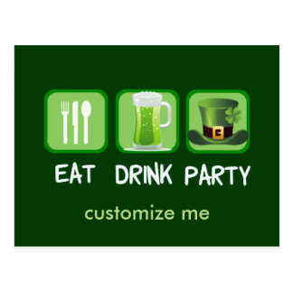 Eat Drink Party Funny St. Patrick's Day Postcard