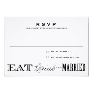"EAT, DRINK | RSVP 3.5 x 5 3.5"" X 5"" Invitation Card"