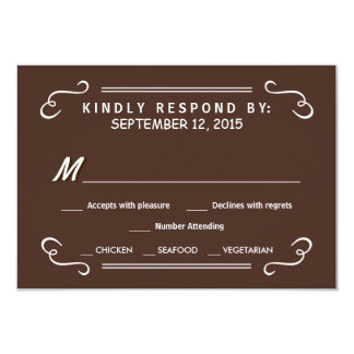 "Eat Drink & RSVP Chocolate Brown Wedding Reply 3.5"" X 5"" Invitation Card"