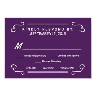 Eat Drink & RSVP Eggplant Purple Wedding Reply 3.5x5 Paper Invitation Card
