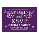 Eat Drink & RSVP Eggplant Purple Wedding Reply Personalized Invitations