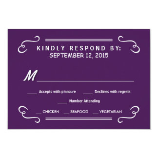 "Eat Drink & RSVP Eggplant Purple Wedding Reply 3.5"" X 5"" Invitation Card"