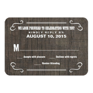 Eat Drink & RSVP Old West Wood Wedding Reply Cards