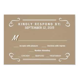 Eat Drink & RSVP Sandalwood Tan Wedding Reply Card