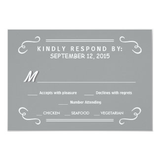 Eat Drink & RSVP Silver Gray Rustic Wedding Reply 3.5x5 Paper Invitation Card