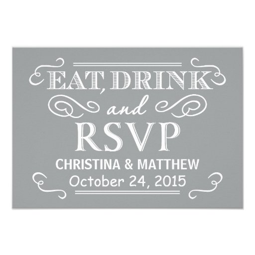 Eat Drink & RSVP Silver Gray Rustic Wedding Reply Personalized Invites