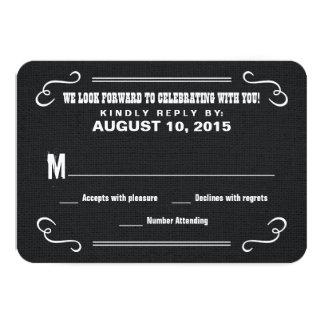 Eat Drink & RSVP Western Burlap Wedding Reply Card