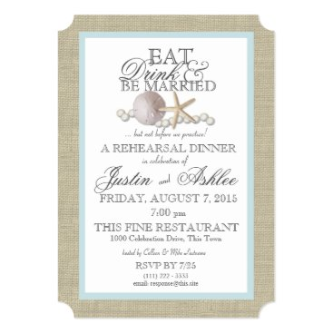 happygotimes Eat Drink Sand Dollar and Pearl Wedding Rehearsal Card
