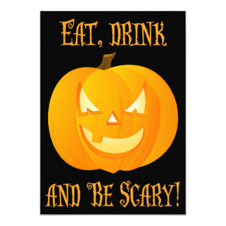 Eat Drink Scary Halloween Party Invitation Pumpkin