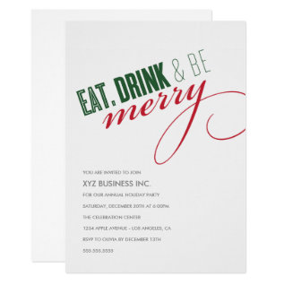 Eat. Drink Script Holiday Party Invitation at Zazzle