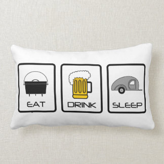 """Eat, Drink, Sleep"" Teardrop Camping Pillows"