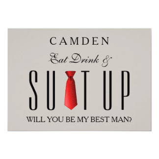 Eat Drink & Suitup Red Will you be my Bestman Card