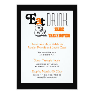 Eat drink Thanksgiving birthday party Invitation