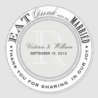 EAT, DRINK | WEDDING FAVOR LABEL STICKERS