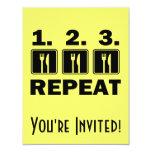 """Eat Eat Eat and Repeat 4.25"""" X 5.5"""" Invitation Card"""