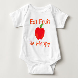 Eat Fruit, Be Happy with Big Crunchy Red Apple Baby Bodysuit