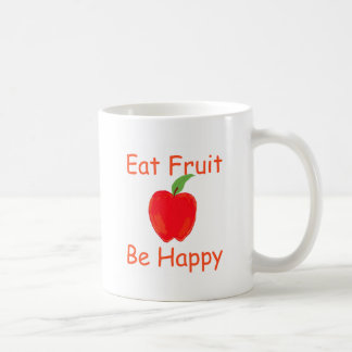 Eat Fruit, Be Happy with Big Crunchy Red Apple Coffee Mug