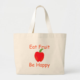 Eat Fruit, Be Happy with Big Crunchy Red Apple Large Tote Bag