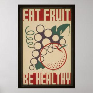 Eat Fruit Be-Healthy Vintage  Poster