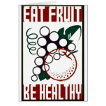 Eat Fruit - Be Healthy - WPA Poster - Card