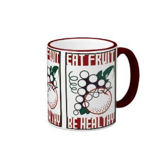 Eat Fruit - Be Healthy - WPA Poster - Ringer Mug