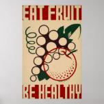Eat Fruit Be Healthy WPA Vintage Poster
