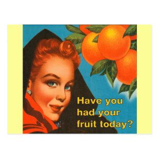 Eat Fruit Vintage Design Postcard