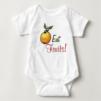 Eat Fruits! (cute fruit orange) Baby Bodysuit