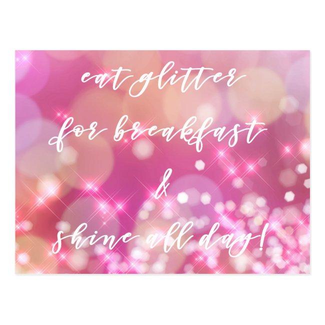 Eat glitter | Glamorous Pink Sparkles Postcard