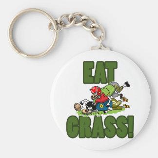 EAT GRASS BASIC ROUND BUTTON KEYCHAIN