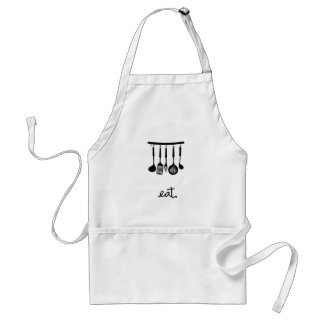 Eat | Hanging utensils design | Black Adult Apron