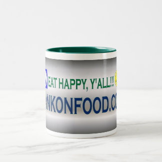 Eat Happy Y'all--HankOnFood.com Coffee Mug! Two-Tone Coffee Mug